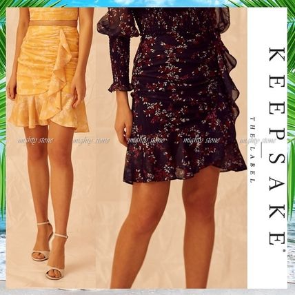 Flared Skirts Short Flower Patterns Khaki Mini Skirts