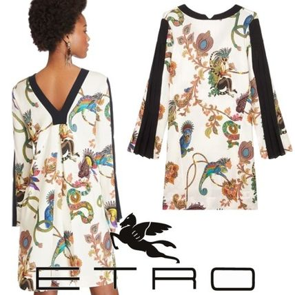 Short Flower Patterns Casual Style A-line Wool Long Sleeves