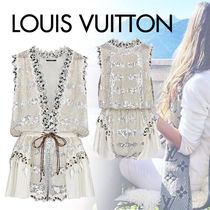 Louis Vuitton Short Silk Blended Fabrics Sleeveless Party Style