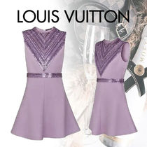 Louis Vuitton Silk Blended Fabrics Sleeveless Flared Party Style