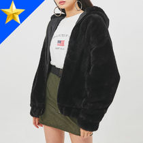OPEN THE DOOR Unisex Faux Fur Street Style Plain Oversized