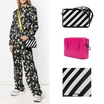 Off-White Stripes Casual Style Leather Shoulder Bags
