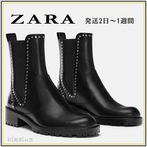 ZARA Casual Style Studded Ankle & Booties Boots