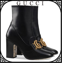 GUCCI Round Toe Plain Leather Block Heels Elegant Style
