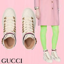 GUCCI Round Toe Plain Leather Block Heels Ankle & Booties Boots