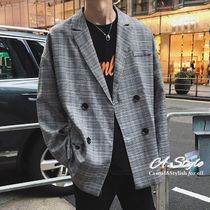 Short Other Check Patterns Street Style Oversized