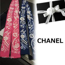 CHANEL Casual Style Silk Lightweight Scarves & Shawls