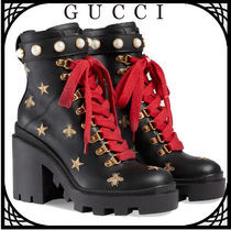 GUCCI Star Casual Style Plain Leather Block Heels