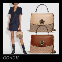 Coach Flower Patterns Monogram Canvas Studded 2WAY Office Style