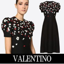 VALENTINO Crew Neck Flower Patterns Wool Puffed Sleeves Flared Plain