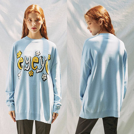 Crew Neck Flower Patterns Casual Style Long Sleeves Cotton