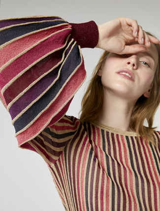 Crew Neck Stripes Puffed Sleeves Sweaters