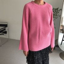 Crew Neck Cable Knit Casual Style Wool Dolman Sleeves