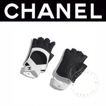 CHANEL Blended Fabrics Street Style Bi-color Leather