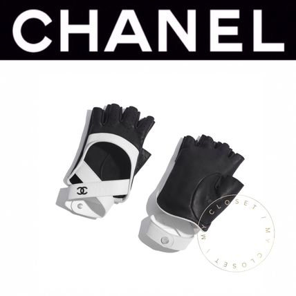 CHANEL Leather & Faux Leather Blended Fabrics Street Style Bi-color Leather