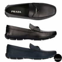 PRADA SAFFIANO LUX Driving Shoes Leather Loafers & Slip-ons