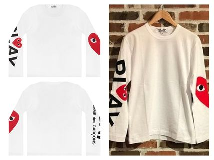 COMME des GARCONS Long Sleeve Heart Unisex Street Style U-Neck Long Sleeves Cotton 2