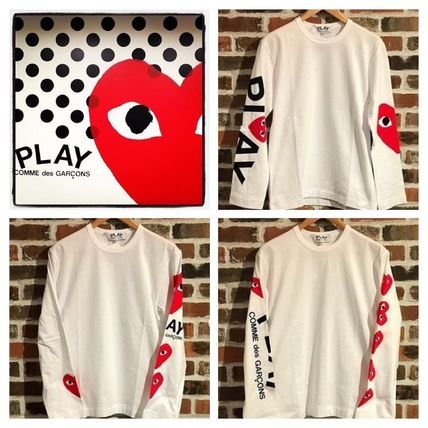 Heart Unisex Street Style U-Neck Long Sleeves Cotton