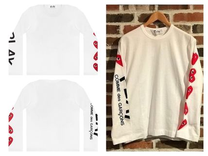 COMME des GARCONS Long Sleeve Heart Unisex Street Style U-Neck Long Sleeves Cotton 3
