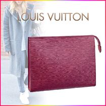 Louis Vuitton EPI Blended Fabrics Bag in Bag Plain Leather Elegant Style