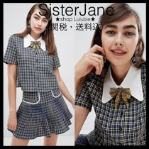 Sister Jane Other Check Patterns Casual Style Chiffon Short Sleeves