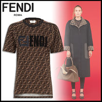 FENDI Monogram Cotton Short Sleeves T-Shirts