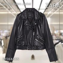 ZARA Street Style Plain Leather Medium Biker Jackets
