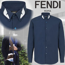 FENDI BAG BUGS Long Sleeves Plain Cotton Shirts