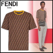 FENDI Crew Neck Monogram Cotton Short Sleeves Crew Neck T-Shirts
