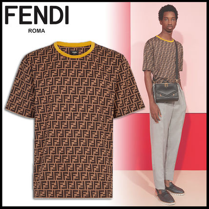 FENDI Crew Neck Crew Neck Monogram Cotton Short Sleeves Crew Neck T-Shirts