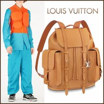 Louis Vuitton CHRISTOPHER Unisex Blended Fabrics Street Style 2WAY Plain Leather