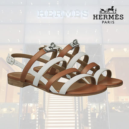 aa56327d0a3 ... HERMES More Sandals Open Toe Blended Fabrics Street Style Bi-color Plain  Leather ...
