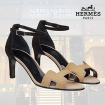 HERMES Open Toe Blended Fabrics Bi-color Plain Leather Pin Heels