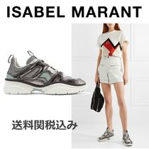 Isabel Marant Round Toe Rubber Sole Lace-up Casual Style Blended Fabrics