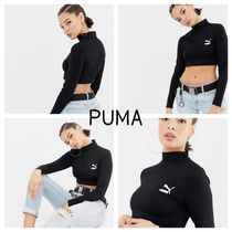 PUMA Crew Neck Short Long Sleeves Plain Cropped