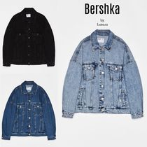 Bershka Casual Style Denim Plain Medium Oversized Jackets