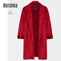 Bershka Casual Style Suede Plain Chester Coats
