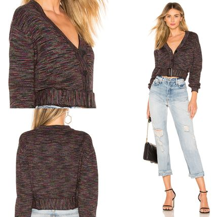 Short Casual Style V-Neck Long Sleeves Cropped