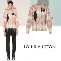 Louis Vuitton Cable Knit Casual Style Wool U-Neck Long Sleeves Medium