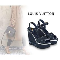 Louis Vuitton Rubber Sole Casual Style Plain Heeled Sandals