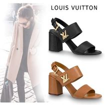 Louis Vuitton Plain Leather Block Heels Elegant Style Logo Heeled Sandals