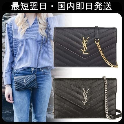 Casual Style 2WAY Chain Leather Shoulder Bags