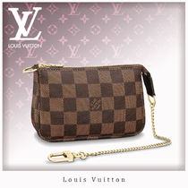 Louis Vuitton DAMIER Chain Leather Pouches & Cosmetic Bags
