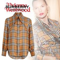 Burberry Other Check Patterns Unisex Silk Long Sleeves Elegant Style