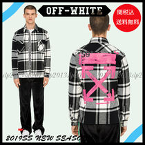 Off-White Button-down Tartan Unisex Blended Fabrics Long Sleeves