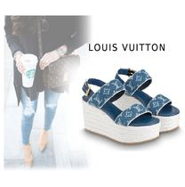 Louis Vuitton Monogram Rubber Sole Casual Style Plain Sandals