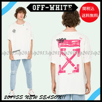 Off-White Crew Neck Blended Fabrics Cotton Short Sleeves