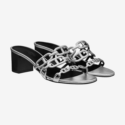 633f8948dd2 HERMES More Sandals Open Toe Blended Fabrics Chain Plain Leather Block Heels  5 ...