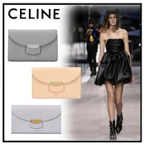 CELINE Trotteur Calfskin Plain Folding Wallets