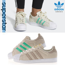 adidas SUPERSTAR Round Toe Rubber Sole Casual Style Unisex Suede Street Style